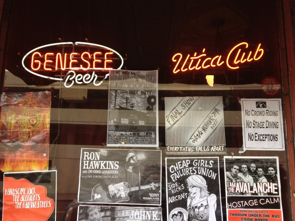 Bar window with flyers